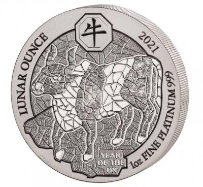 1 Unze Jahr des Ochsen Ruanda Platin Lunar 2021