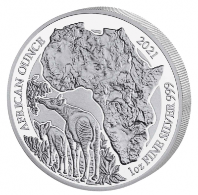 African Ounce Okapi Ruanda 1 Unze Silber Polierte Platte 2021